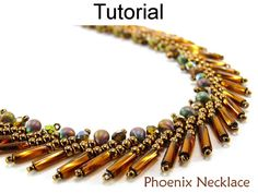 """Phoenix Necklace PDF Beading Pattern  This simple beading pattern will easily teach you how to make this beautiful beaded """"Phoenix Necklace""""! With over 30 high resolution full color photos and easy to follow step by step directions, you'll learn a modified version of the St. Petersburg stitch to create this eye-catching necklace! Also, check out the matching bracelet and earrings now available! Happy beading!  Tutorial by: Cara Landry  Recommended Materials: - 10lb FireLine beading thread –…"""