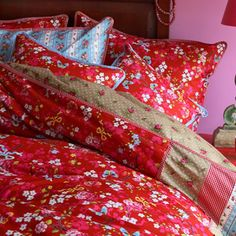 PiP Studio Chinese Rose Duvet Cover and Pillowcase Set, Red