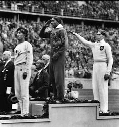 Naoto Tajima of Japan, Jesse Owens of the USA, Luz Long of Nazi Germany. Berlin Olympics, 1936.