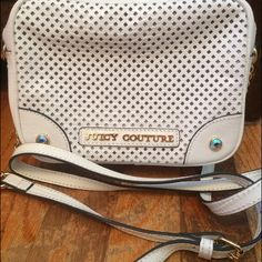 Juicy Couture Genuine Leather White Handbag Made from genuine leather, white with gold accents, pink interior, used once, great condition, adjustable strap Juicy Couture Bags Shoulder Bags