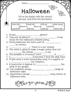 Halloween Reading, vocabulary, grammar, puzzles and more.  Includes 13 no prep printables.