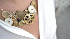Maxi colar com botões antigos passo a passo   Como fazer em casa Artesanato