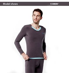 VKWEIKU Thermal Underwear Set Midweight Wicking Modal Tops  Bottoms Large Darkgray >>> Check this awesome product by going to the link at the image.