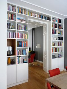 Smart home TV pole Home Library Design, Home Living Room, Home, House Interior, Home Office Design, Built In Bookcase, Interior Design, Home And Living, Home Library