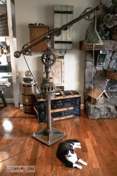 DIY Vintage Big Floor Lamp: Very nice tutorial on Funky and Junk if you have some parts make your own huge rustic vintage floor lamp! #diylighting #floorlamp #handmadelighting #hugelighting #lamp #lighting #lightingdesign #recycle #rusticlighting #steampunk #tutorial #vintagelighting