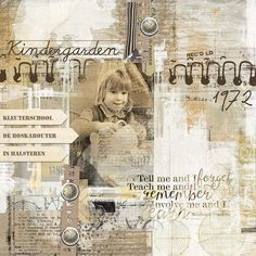 KINDERGARDEN: Me in Kindergarden.  I made this page with Academic from Jen Maddocks, available at Digital Scrapbooking Studio here: http://www.digitalscrapbookingstudio.com/jen-maddocks-designs/ Also used: I Was Framed 3 by Jen Maddocks at DSS