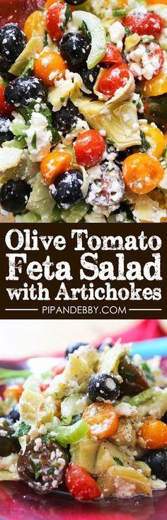Olive, tomato feta salad with artichokes
