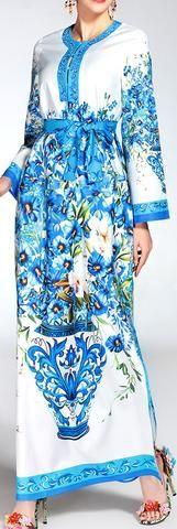 Floral Bouquet Print Long Belted Kaftan Dress, Blue