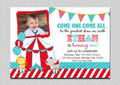 Hey, I found this really awesome Etsy listing at http://www.etsy.com/listing/128644141/circus-birthday-invitation-1st-birthday