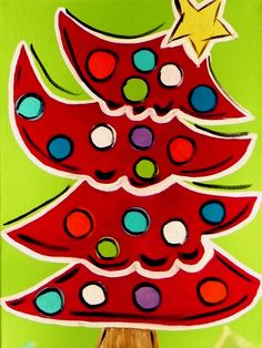 Funky Christmas Tree with Spring Green Background. $50.00, via Etsy.