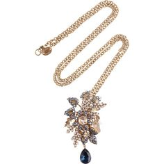 Bijoux Heart Moritz 24-karat gold-plated Swarovski crystal necklace ($705) ❤ liked on Polyvore