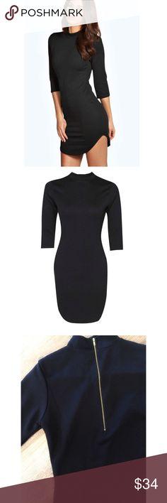 Black Curved Hem Slim Fit Mini Dress 4 High Neck, Ribbed Finish, Expose Gold tone zip back fastening, Curved Hem. Size: 4. New Dresses Mini