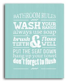Green Bathroom Rules Wall Art