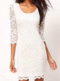 Half Sleeve Round Neck White Lace Dress