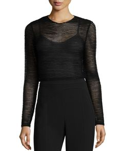 Sheer Knit Striped Top