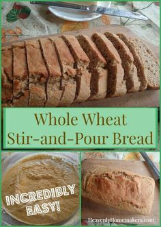 Whole Wheat Stir-and-Pour Bread ~ It is So Easy This whole wheat bread is easier than any bread recipe I've ever made! Mix ingredients, let it rest, then pour it into baking pans. Whole Wheat Bread Machine Recipe, Bread Machine Recipes, Quick Bread Recipes, Real Food Recipes, Cooking Recipes, No Knead Whole Wheat Bread Recipe, Cooking Corn, Cooking Beets, Chef Recipes