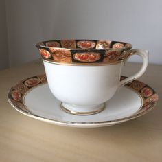 Royal Albert Crown China Vintage Teacup and Saucer, Black, Brown, Gold Imari Pattern Tea Cup and Saucer, English China, 1920s by CupandOwl on Etsy