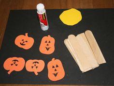 Five little pumpkins sitting on a fence preschool craft