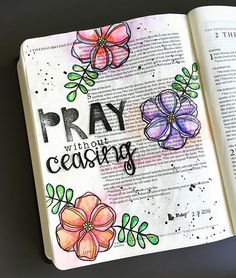 Bible Journaling by Mimi @_mimi_rn | 1 Thessalonians 5:16-18                                                                                                                                                                                 More