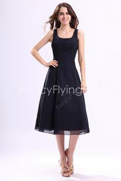 fancyflyingfox.com Offers High Quality Svelte Scoop Neckline A-line Tea Length Dark Navy Tea Length Bridesmaid Dresses ,Priced At Only US$155.00 (Free Shipping)