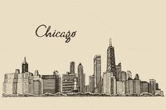Illustration about Chicago Skyline Outline Sketch Hand Drawn Vector Illustration. Illustration of chicago, light, building - 71908052 Vegas Skyline, Pittsburgh Skyline, Nashville Skyline, Dallas Skyline, Chicago Skyline Drawing, Chicago Skyline Tattoo, Skyline Painting, Skyline Art, Dibujo