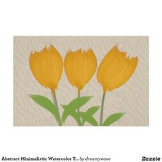 """Abstract Minimal Watercolor Tulips Linen Poster, giant size 48""""x32"""" for $136.05, smaller sizes for lot less! #tulips #yellow #watercolor"""