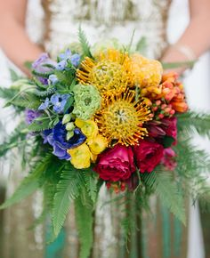 A bright Rainbrow Bright-inspired bridal bouquet