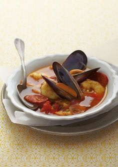 Spanish Seafood Stew: Spanish-style rice, mussel, prawn & chorizo soup