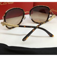 Cartier Panthere Rimmed Cheap sunglasses tortoiseshell composite brown lenses