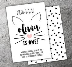 Kitty Cat Monochrome Birthday Invitation - Printable - FREE matching back side