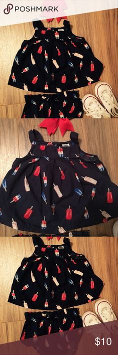 🎉Adorable Rocket Popsicle Top and Bloomers 🚀 Excellent preowned condition and super cute on. This is great for the 4th of July events. Worn once and no flaws at all. This listing is for top and bloomers only, shoes and headband not included😉 Colors are navy red white and some pink. Headband could be added for $2 more. Old Navy Matching Sets