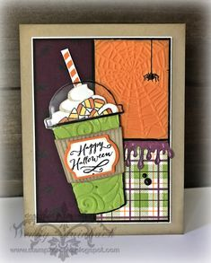 Stampin' Up! Coffee Cafe/Coffee Cups bundle, Jar of Haunts, Buffalo Check background Halloween Jars, Homemade Halloween, Halloween Crafts, Diy Halloween Cards, Halloween Scrapbook, Halloween Ideas, Halloween Costumes, Fall Cards, Holiday Cards