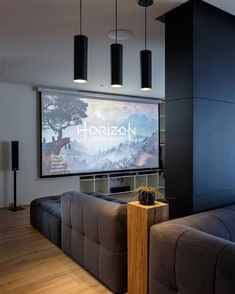 by Sirotov Architects 05 - MyHouseIdea Home Theater Setup, Home Theater Seating, Dream Theater, Ecran Projection, Projection Screen, Living Room Entertainment Center, Interior And Exterior, Interior Design, Finished Attic