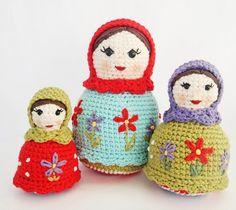 Crochet Matryoshka Russian Dolls #Amigurumi #pattern #toys