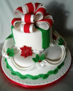 Christmas Cake a smaller cupcake size would be cute.quenalbertini: Christmas Cake Christmas Present Cake, Christmas Cakes, Holiday Cakes,. Christmas Cake Designs, Christmas Wedding Cakes, Christmas Cupcakes, Christmas Sweets, Holiday Cakes, Christmas Baking, Christmas Ribbon, Xmas Cakes, Merry Christmas