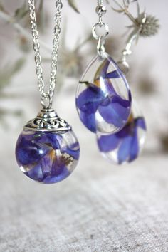 Purple  Delphinium pendant. Pendant epoxy resin.  by Dingaya