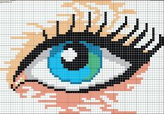 Beautiful woman's eye pattern /chart for cross stitch, knitting, knotting, beading, weaving, pixel art, and other crafting projects.