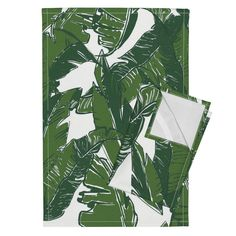 Orpington Tea Towels featuring Leaves Bananique in White Shell by elliottdesignfactory | Roostery Home Decor