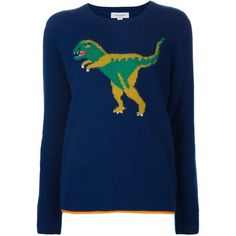 Coach Intarsia Dinosaur Jumper ($695) ❤ liked on Polyvore featuring tops, sweaters, blue, blue sweater, colorful sweaters, multi color tops, jumpers sweaters and multi color sweater