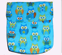 Owl Travel Cosmetic bag, Beauty Bags, Sturdy turquoise lining with 1 inside pocket, HANDMADE Size is 8.5 X 9.75 X2 in. Velcro closure by beckyspillowshop. Explore more products on http://beckyspillowshop.etsy.com