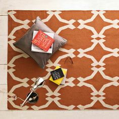 Lattice Wool Dhurrie - Rust | west elm