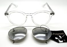 dcb2ca8655 Clear Round Vintage Prescription Glasses by Polaroid with Clip On Sunglasses