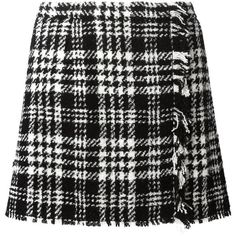 DOLCE & GABBANA Tartan Check Wrap Skirt ($945) ❤ liked on Polyvore featuring skirts, mini skirts, black and white checkered skirt, black and white a line skirt, short skirts, tartan skirt and a line mini skirt