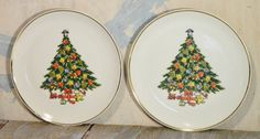 Vintage/Mount Clemens/Christmas Tree/China/Salad Plates/Dishes/Gold Trim/ 2