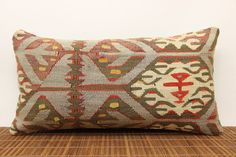 Vintage Lumbar kilim pillow 10 x 20 Couch Pillow by kilimwarehouse, $49.00