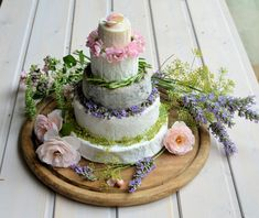 Summer French Cheese Cake Tower - a spectacular tower of French cheeses, this tiered cheese tower is perfect for any summer wedding or celebration dinners.