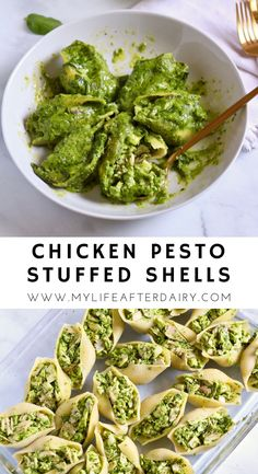 Creamy and dairy-free, these chicken pesto stuffed shells are the perfect summertime dinner. Made with a spinach pesto and shredded chicken stuffed into jumbo shells and topped with a spinach cream sauce these delicious stuffed shells are sure to hit the spot. Perfect for a summer dinner or a delicious lunch prep! Chicken Recipes Dairy Free, Dairy Free Recipes Easy, Yummy Chicken Recipes, Chicken Flavors, Delicious Dinner Recipes, Yum Yum Chicken, Spinach Stuffed Shells, Dairy Free Pesto, Pesto Chicken