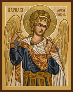 Raphael Archangel by Joan Cole Religious Icons, Religious Art, St Rose Of Lima, St Raphael, Angel Drawing, Angel Prayers, Greek And Roman Mythology, Occult Art, Byzantine Icons