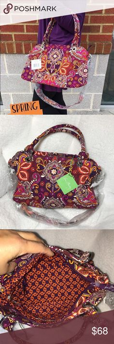 """Vera Bradley Chain bag Item Description: • A feminine-shaped handbag acquires a modern add-on in this new style.  • Carry the bag by its rolled handles or attach the chain shoulder strap for a completely different look. Features: • 13"""" x 8½"""" x 5"""" with 7"""" strap drop • 34¾"""" detachable chain strap  • Removable chain shoulder strap • One zip and three slip pockets inside • Recessed zip closure Vera Bradley Bags Satchels"""