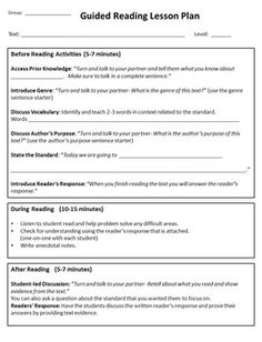 Guided Reading Universal Lesson Plan Template By Angie Boston